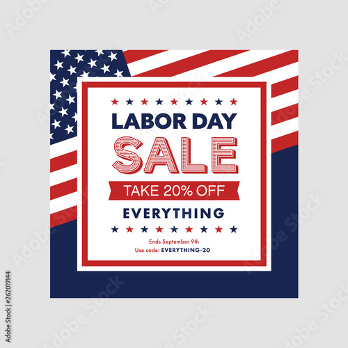 Valokuva Labor day sale banner template with flag. Vector illustration.