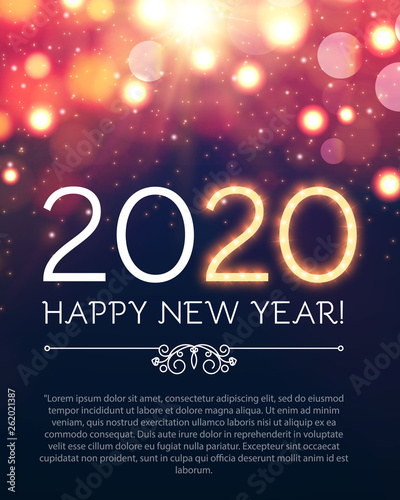 Photo  Happy New 2020 Year Party Poster Template with Bokeh Light Effects and Place for Text