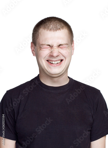 Fototapety, obrazy: Portrait of young man. Facial expression. laugh face.