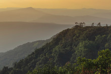 Landscape Mountain View Sunrise Tre With The Sky.Mountain At Sunrise In The Morning. Fog And Green Trees The Peak Phu Rua National Park In Loei..