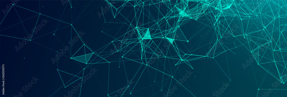 Fototapeta Abstract polygonal vector science background with connecting dots and lines.