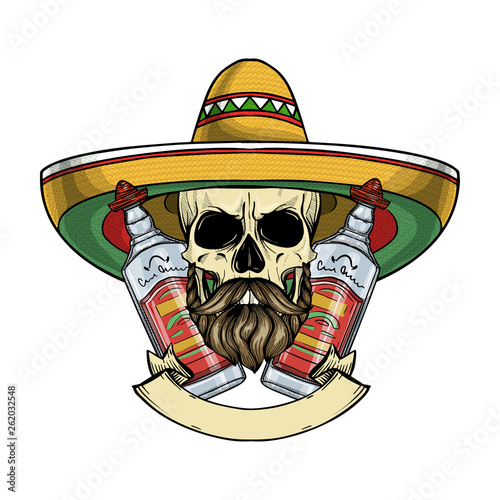 Hand drawn sketch, color skull with sombrero, beard and mustaches and tequila bo Wallpaper Mural