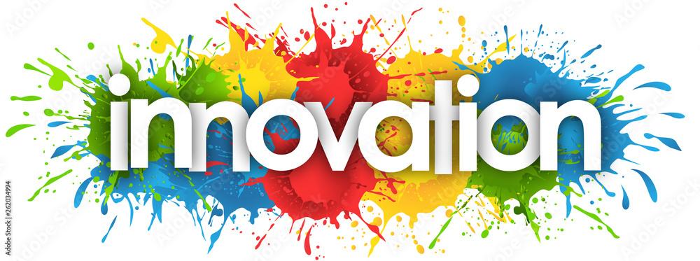 Fototapeta innovation word in splash's background