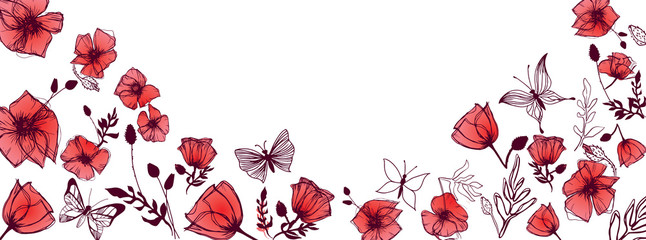 Butterflies and Poppies bac...