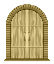 Old Door On A White Background