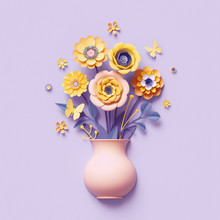 3d Render, Craft Paper Flowers Inside Vase, Yellow Floral Bouquet, Botanical Arrangement, Bright Candy Colors, Nature Clip Art Isolated On Violet Background, Greeting Card Template