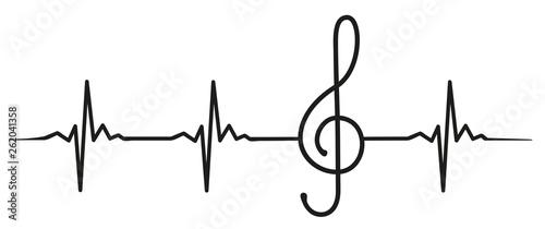 Photographie clef heartbeat #isoliert #vektor - Notenschlüssel Herzschlag