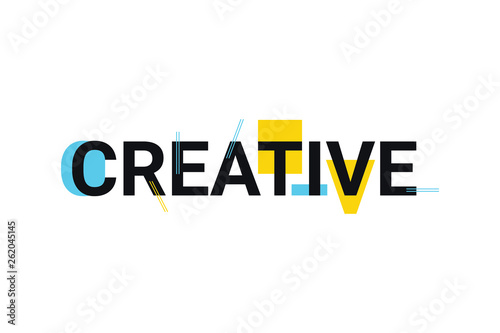 Valokuvatapetti Graphic design of a word creative in playful and trendy way with blue and yellow colors