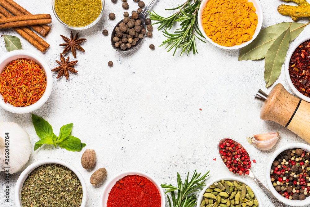 Fototapety, obrazy: Food frame with spices on white