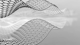 Abstract metal mesh in shape of wave. 3d metal mesh consist of hexagons. Graphene molecular grid. Neural network.3d render