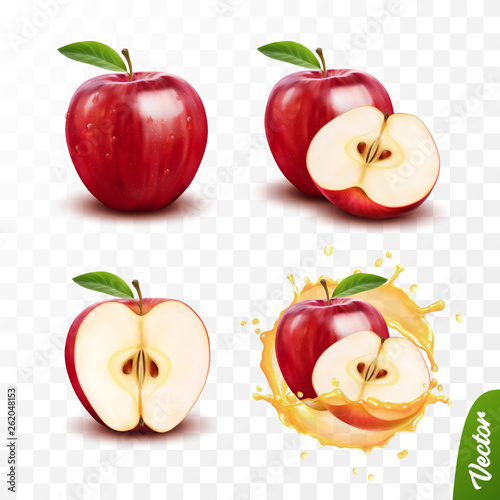 Fototapeta 3d realistic transparent isolated vector set, whole and slice of apple, apple in a splash of juice with drops obraz