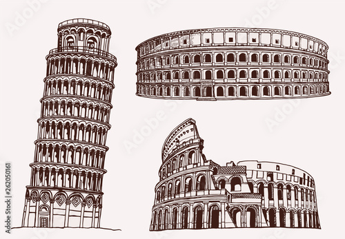 Fotografia, Obraz Graphical  vintage italian sightseeing, vector famous buildings
