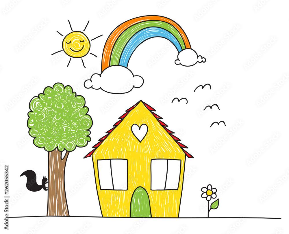 Fototapeta Children's drawing style house and surroundings