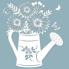 Chrysanthemum In A Jar Of Water. Watering Can. Vector Illustration. Paper Flower, Stickers. Laser Cut. Template For Plotter. Pattern For The Laser Cut, Serigraphy, Plotter And Screen Printing.