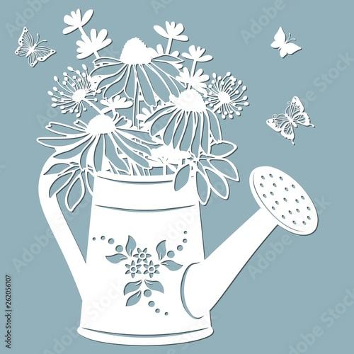 Echinacea Dandelions With Scheffler In A Jar Of Water Watering Can