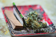 Marijuana On Tray With Cigarette Papers