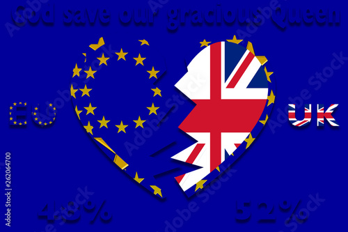 Photo  a divided heart with EU and England flags