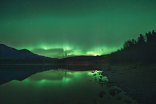 Canada, British Columbia, Pyramid Lake, Northern Lights, Starry Sky At