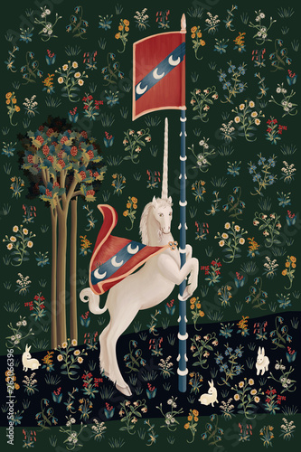 Fototapeta Jednorożec fantasy-poster-wallpaper-card-illustration-with-unicorn-in-medieval-tapestries-style