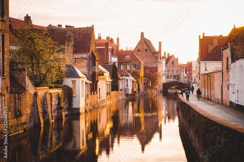 Wall Murals Bridges Historic city of Brugge at sunrise, Flanders, Belgium