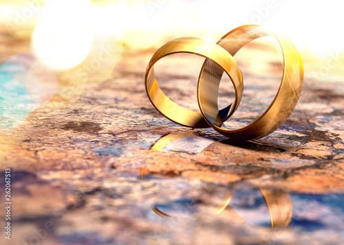 Bodegón de anillos de bodas de oro Wallpaper Mural