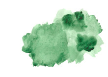 Green Watercolor Strokes Isolated On White Background.Green Paint Shades