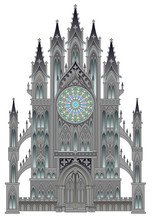 Silhouette Of Fantasy Fairyland Medieval Cathedral On A White Background. Gothic Architectural Style With Beautiful Rose And Stained Glass Windows. Modern Print. Middle Ages In Western Europe.