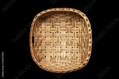 Obraz Traditional wicker baskets isolated on black background - fototapety do salonu