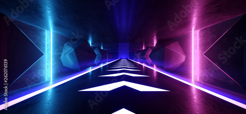 Neon Glowing Psychedelic Vibrant Cosmic Ultraviolet Fluorescent Luxurious Luminous Sci Fi Futuristic Retro  Arrow Vertical Lights Purple Blue Grunge Concrete Tunnel 3D Rendering