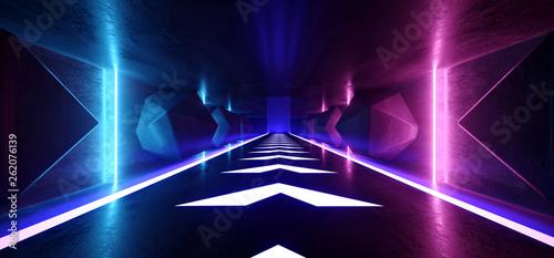 Neon Glowing Psychedelic Vibrant Cosmic Ultraviolet Fluorescent Luxurious Luminous Sci Fi Futuristic Retro  Arrow Vertical Lights Purple Blue Grunge Concrete Tunnel 3D Rendering - 262076139