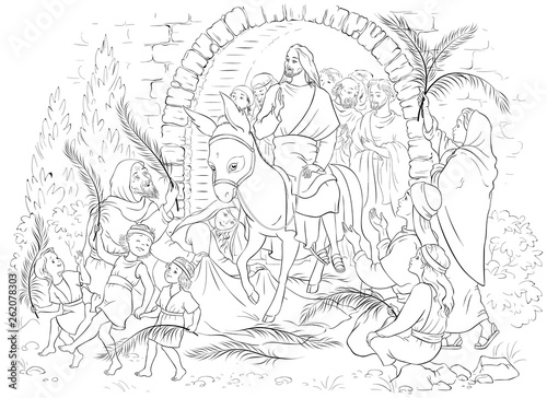Entry of Our Lord into Jerusalem (Palm Sunday) coloring page ...