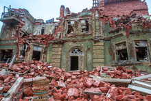 Ruined City After The War. Streets Ruins. Destroyed City By The War. Buildings After The Bombing. Buildings Debris. War Destruction.