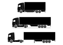 Truck Icon. Silhouette Of A Modern Truck On A White Background. Flat Vector.