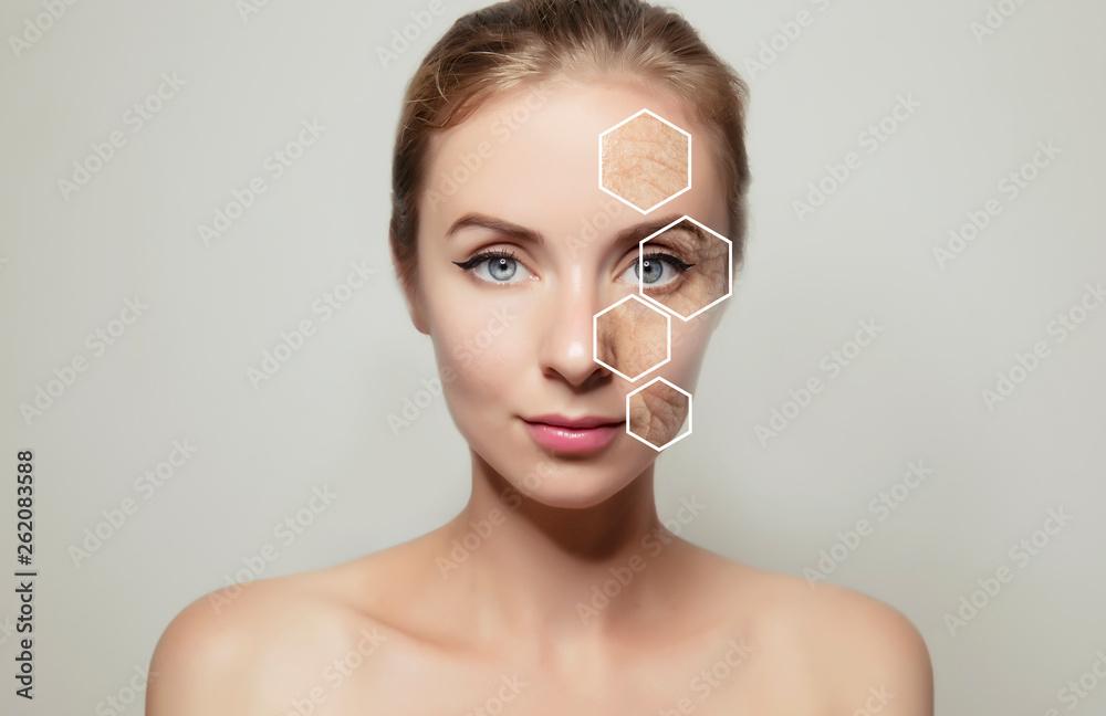 Fototapeta woman face portrait with problem old skin