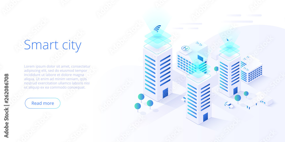 Fototapeta Smart city or intelligent building isometric vector concept. Building automation with computer networking illustration. Management system or BAS  background. IoT platform as future technology.
