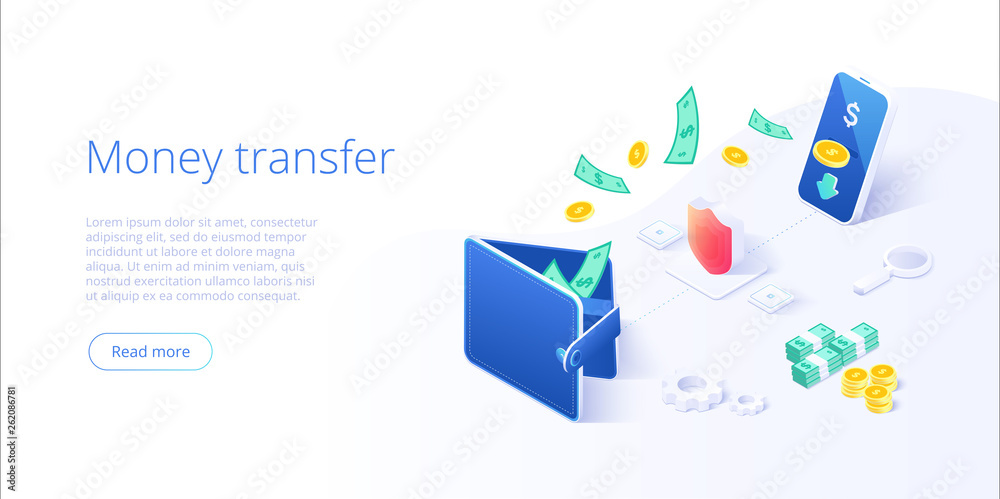 Fototapeta Money transfer from and to wallet in isometric vector design. Capital flow, earning or making money. Financial savings or economy concept.