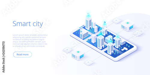 Smart city or intelligent building isometric vector concept. Building automation with computer networking illustration. Management system or BAS  background. IoT platform as future technology. - 262086713