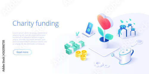 Fototapeta Charity fund or care in isometric vector concept. Volunteer community or donation metaphor illustration. Web banner layout for people help or support, obraz