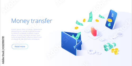 Fényképezés Money transfer from and to wallet in isometric vector design