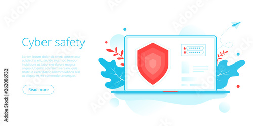 Tablou Canvas Cyber safety or personal data security in creative flat vector illustration
