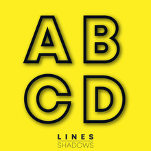 Letters Linear Design. Set Of Letter A, B, C, D Template For Logo Or Icon