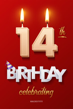 Burning Birthday Candles In The Form Of Number 14 Figure And Happy Birthday Celebrating Text With Party Cane Isolated On Red Background. Vector Fourteenth Birthday Invitation Template.
