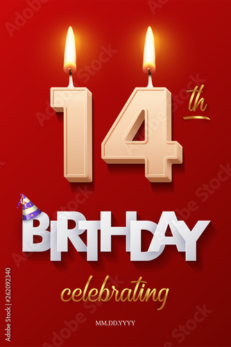 Obraz na plátne Burning Birthday candles in the form of number 14 figure and Happy Birthday celebrating text with party cane isolated on red background