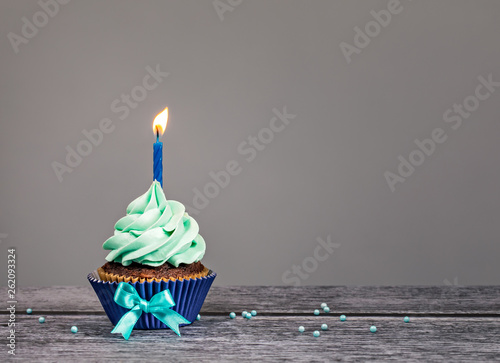 Photo  Blue Birthday Cupcake with Candle
