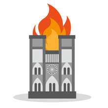 FRANCE - APRIL 15 2019 Fire In The Cathedral Of Notre Dame - Vector Illustration