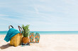 beach, pineapple, fruit, tropical, sea, sand, food, christmas, decoration, summer, orange, holiday, white, travel, ocean, nature, fresh, water, sky, vacation, isolated, blue, basket, green, gift, sand