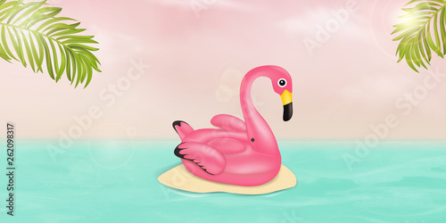 Garden Poster Flamingo Summer vector banner design concept with pink Flamingo pool float, tropical palm leaves and ocean. Summer vacation holiday, traveling, tropical beach and sea. Vector illustration.