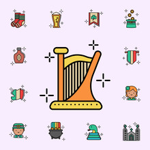 Harp, Instrument Icon. St.Patricks Day Icons Universal Set For Web And Mobile