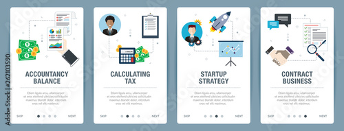 Photo Web banners concept in vector with accountancy balance, calculating tax, startup strategy and contract business
