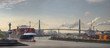 canvas print picture - Panorama eines Containerschiffs am morgen im Hafen von Hamburg